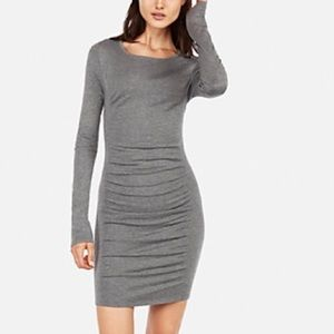 Solid Ruched Sweater Dress Gray